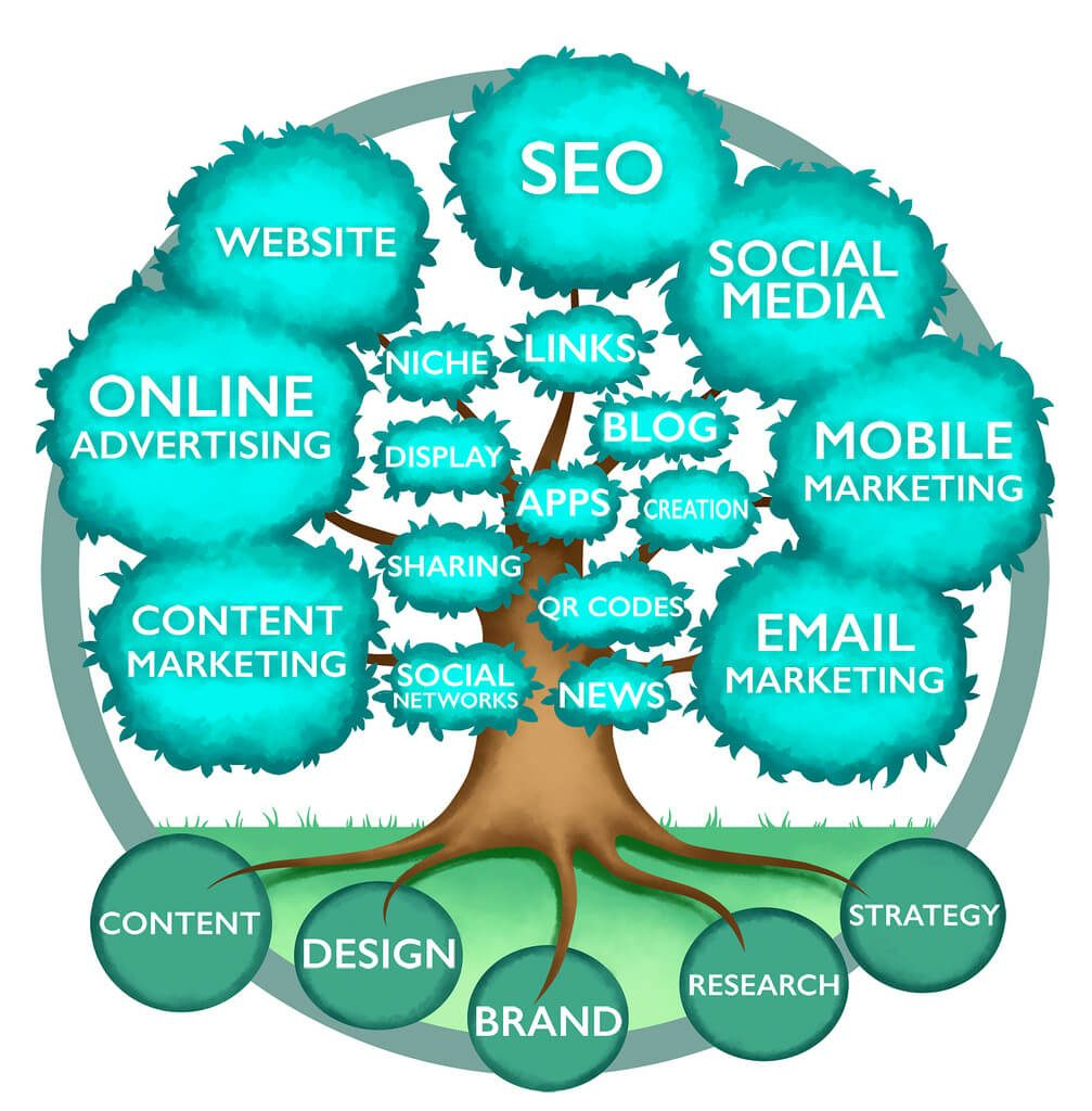 An internet marketing tree with different branches of online marketing