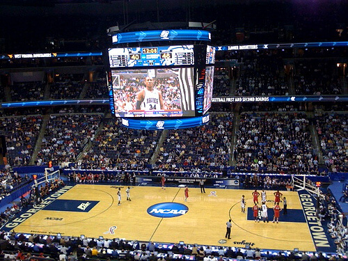 March madness basketball court view