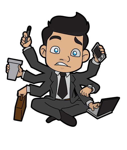 multi-tasking business man with 6 arms holding cell phone, pen, coffee, briefcase, laptop, and checking watch