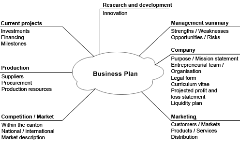 Business plan brainstorming web with current projects, production, research & development, management summary, company, marketing, and current competition
