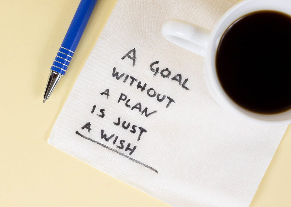 """A cup of coffee, with the quote """"a goal without a plan is just a wish"""" written on a napkin"""
