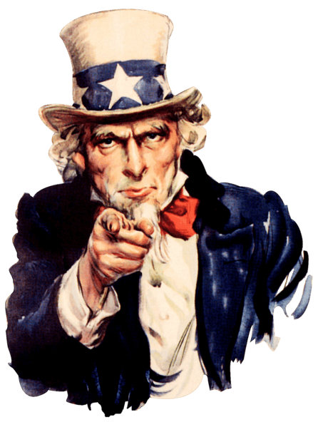 "Uncle Sam ""we want you"" poster with no background."