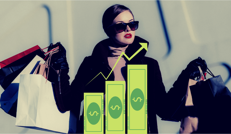 woman with shopping bags with overlay of graph showing money growth.  t