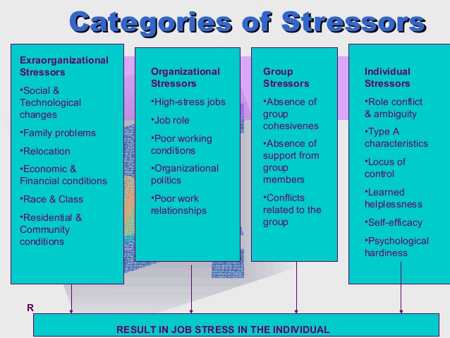 The different categories of stressors: including extraorganizational stressors, organizational stressors, group stressors, and individual stressors.