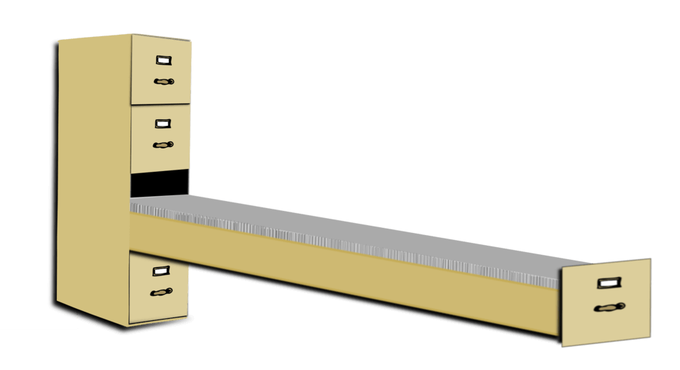 The importance of records keeping and the amount of records can seem overwhelming. Filing cabinet with one extremely long drawer pulled out, full of files.