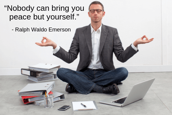 """The importance of records keeping includes your peace of mind as well. Businessman meditating on the floor, with binders and paperwork all around him.  Quote says, """"nobody can bring you peace but yourself"""" by Ralph Waldo Emerson."""