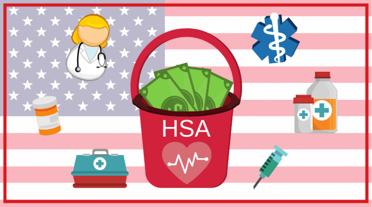 Bucket full of money over an American Flag, marked 'HSA'. Images around HSA bucket are medical images: medicine, doctor. syringe.