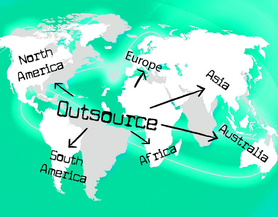 "Image of a map of the world with green water and white/grey land.  ""Outsource"" is typed in the middle, with arrows pointing out to six continents."