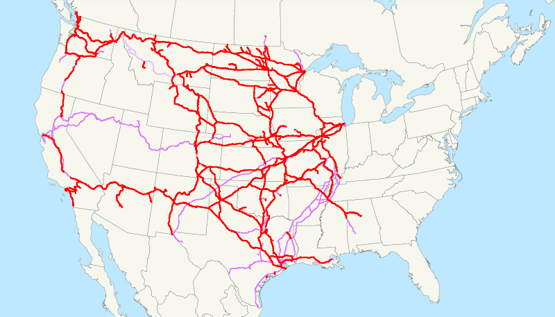 Image of the U.S.A. with red lines running from state to state.