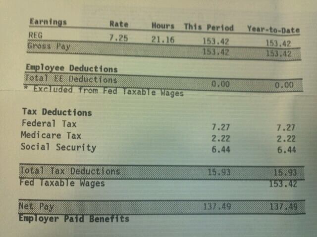Photo of a paystub, including income tax deductions.