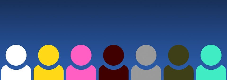 Image of blue background with different colored silhouettes, indicating diversity.