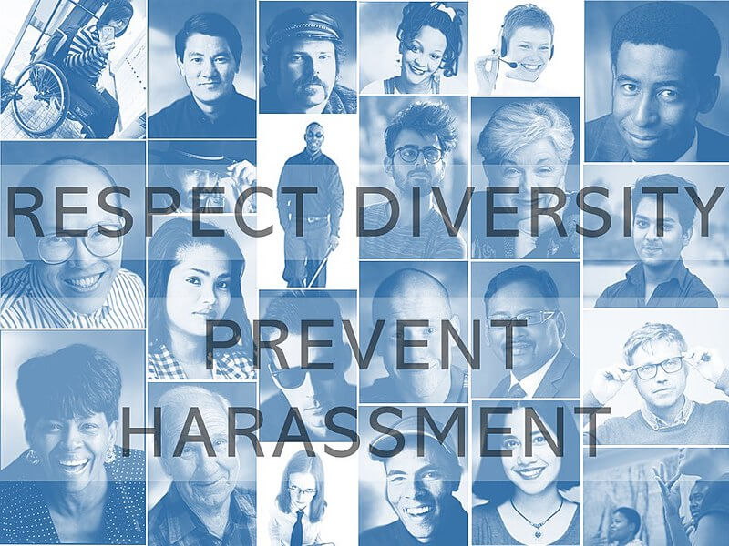 """Image of a collage of photos with the words """"RESPECT DIVERSITY / PREVENT HARASSMENT."""""""