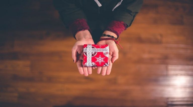 Photo of hands holding a donation gift-wrapped box.