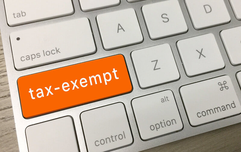 Image of a keyboard with an orange tax-exempt button.