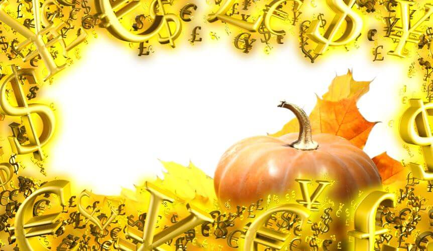 Image of pumpkin surrounded by currency symbols in gold.