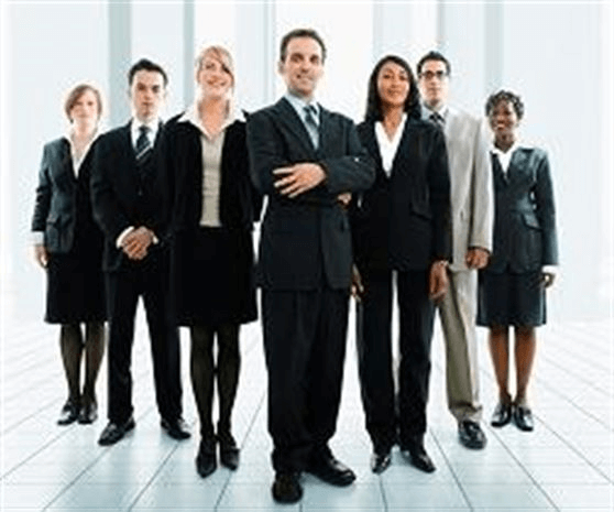 Photo of business people wearing a variety of styles of suits.