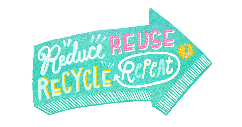 "Image of a teal arrow with the words ""Reduce, REUSE, RECYCLE, RePeAt,"" pertaining to going green."