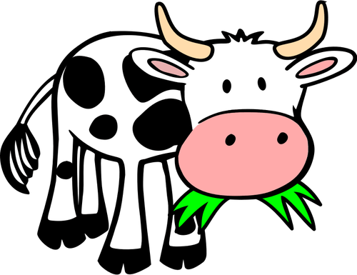 Image of cow chewing on green grass.