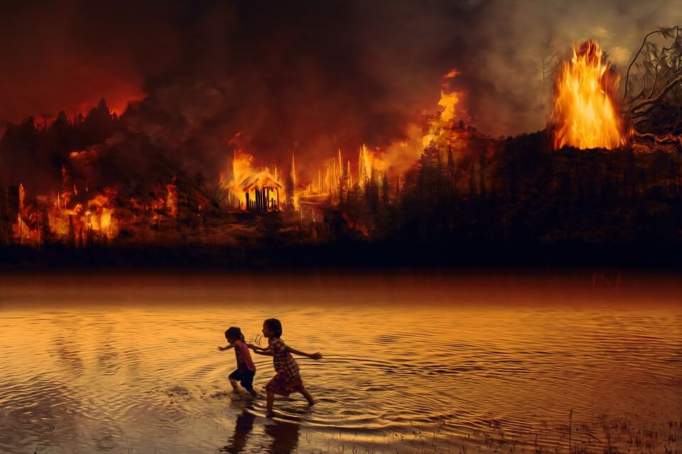 Photo of a forest on fire, with children running.