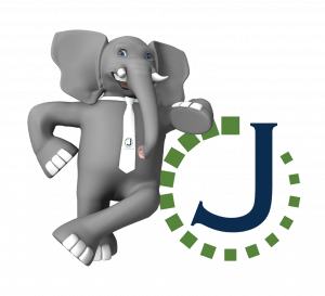 Elephant wearing necktie leaning on the letter J