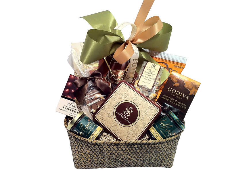 Photo of a gift basket, reminding companies of the $25 minimum for gifts to receive a tax deduction.