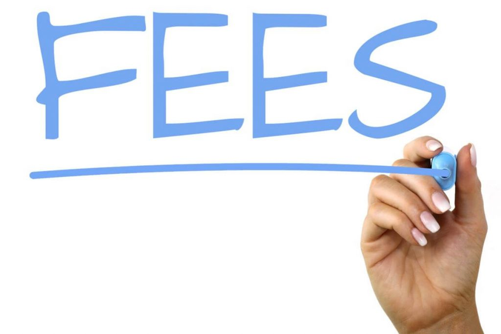 """Image of a hand writing the word """"FEES"""" with a blue marker."""
