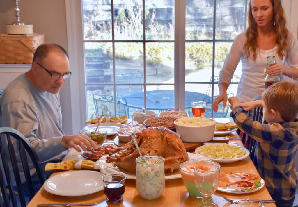 Photo of a family celebrating  Thanksgiving