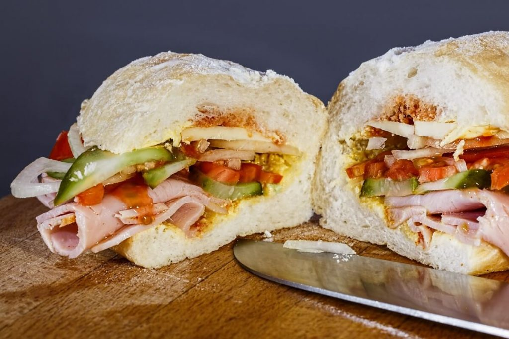 Photo of a turkey sandwich from leftovers.