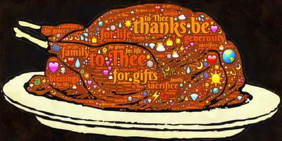 Image of a turkey on a platter with various words about Thanksgiving.