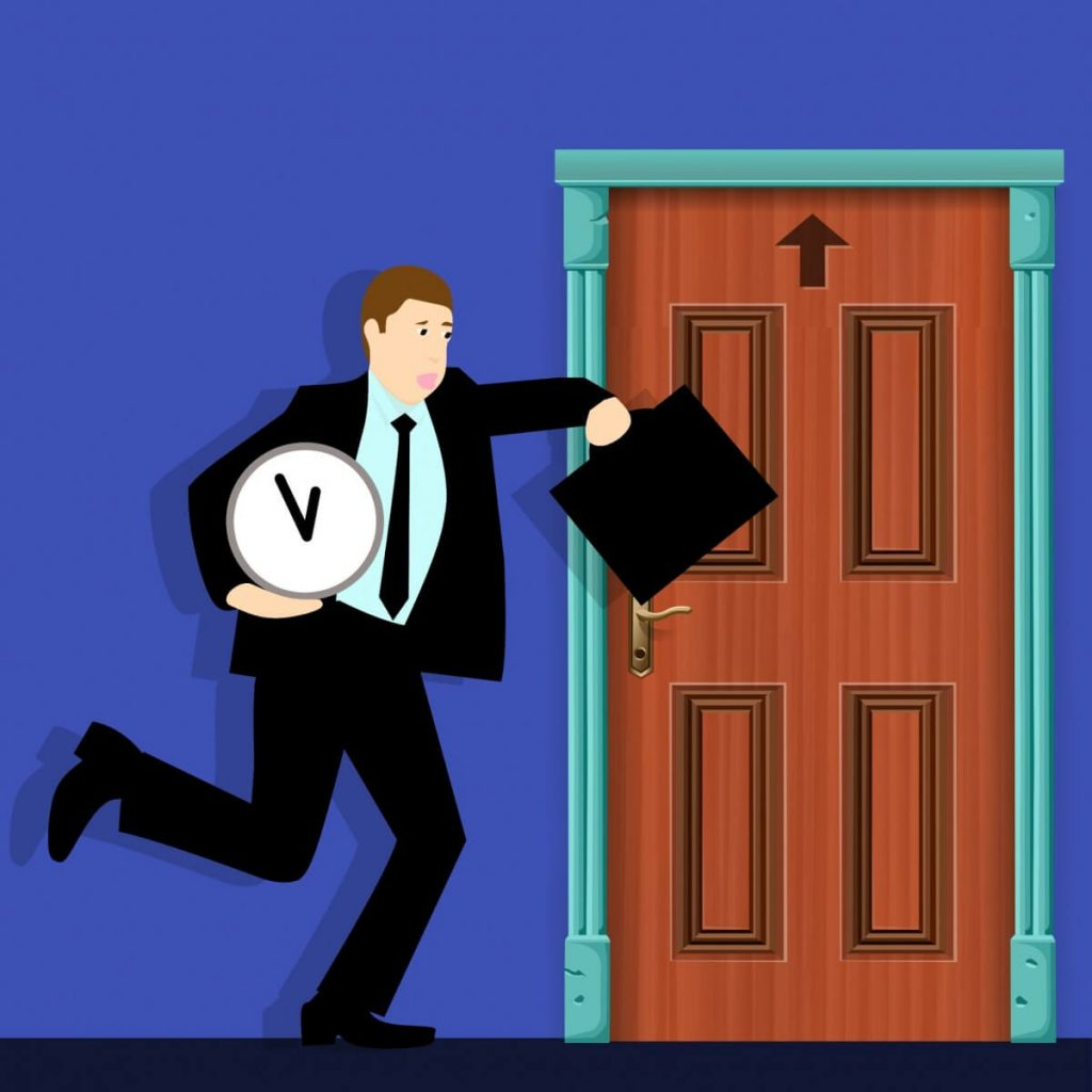 Image of a man carrying a clock and running into a meeting.
