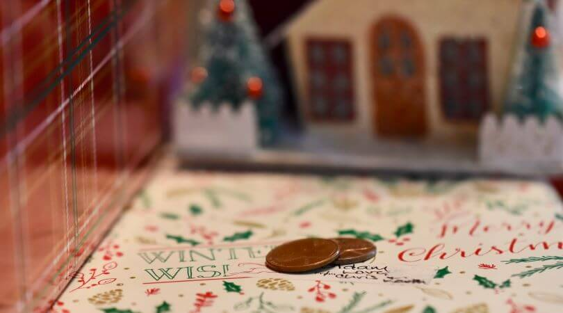 Photo of two pennies with a Christmas scene.