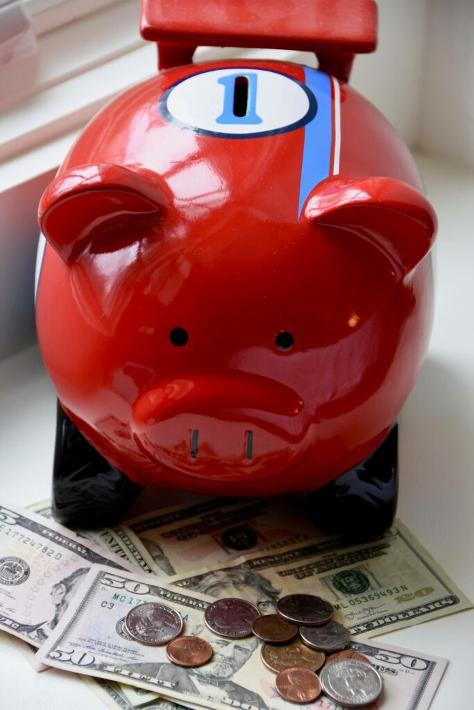 Photo of a piggy bank with cash and coins in front of it, indicating improved finances for a New Year's resolution.