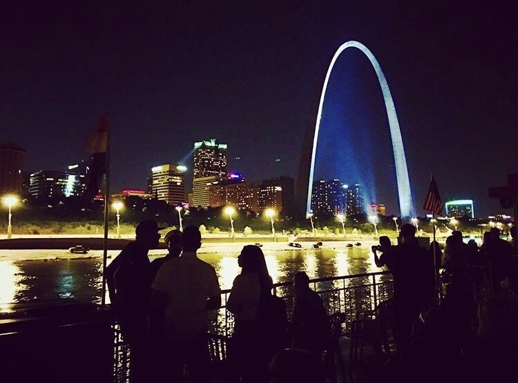 Photo of the Arch at night in St. Louis, MO.