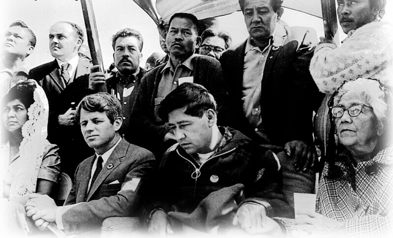 Cesar Chavez, who empathized with MLK, in a group of people of mixed diversity.