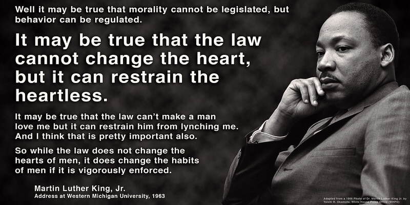 Photo of MLK, along with a quote from his address at Western Michigan University in 1963.