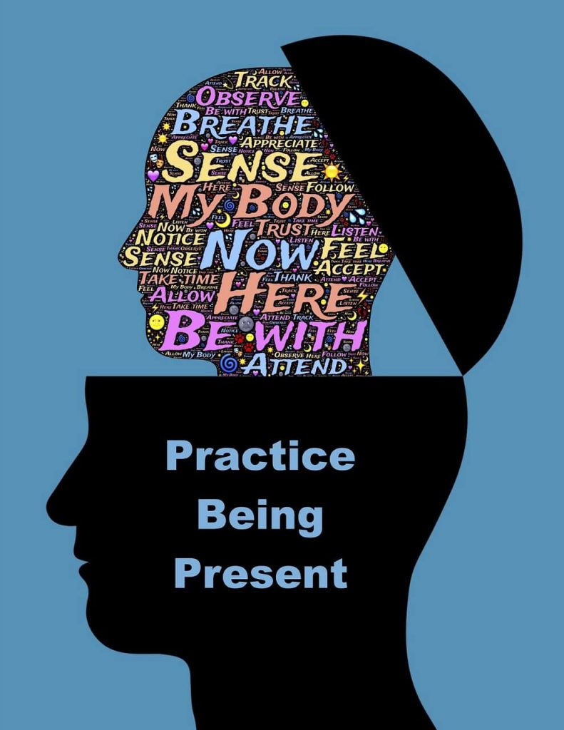 "Image of a silhouette of a face with the words ""Practice Being Present,"" and the skull opening to reveal words such as breathe, sense, now, here, etc."