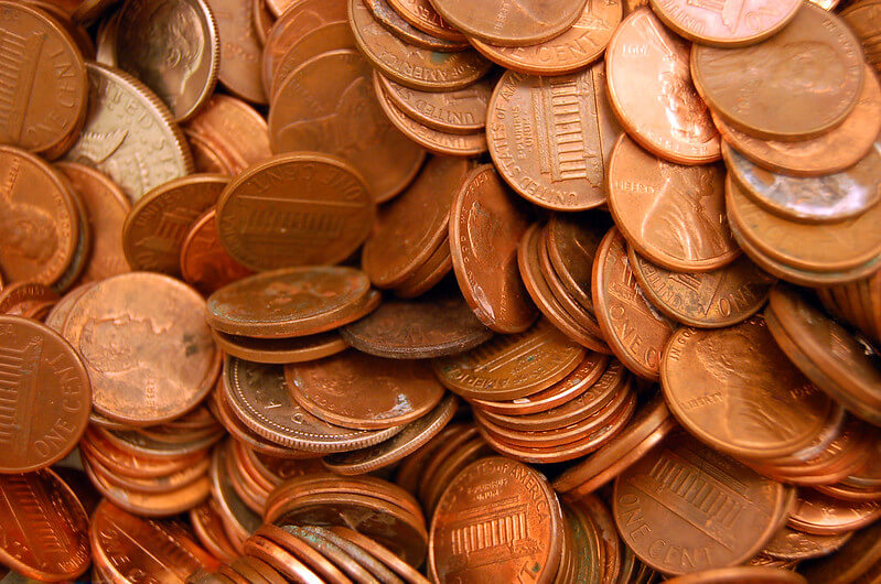 Photo of pennies from mileage adding up.