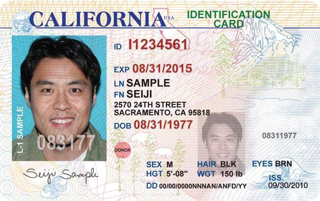 Photo of a California Identification Card, which can be used on the new I-9 form.