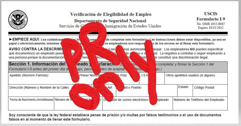 Image of the Verificacion de Elegibilidad de Empleo form in Spanish, which is the Spanish version of the I-9.