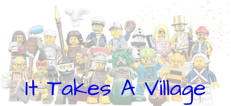 "Image of a group of Lego people with the words ""It Takes A Village,"" indicating that navigating the new I-9 might require additional counsel."