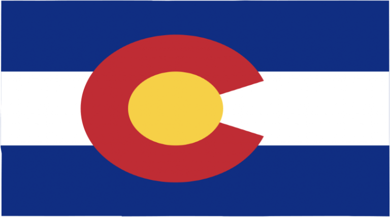 Image of Colorado state flag with a red C with yellow in the inside, two blue stripes and one white stripe horizontally.