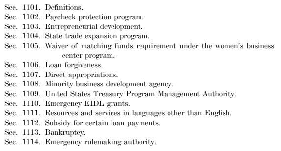 Image of the Table of Contents in the CARES Act.