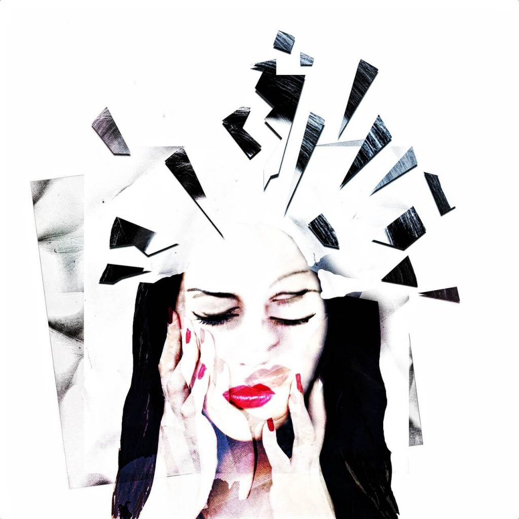 Mental health awareness image of a woman whose mind appears to be shattering.