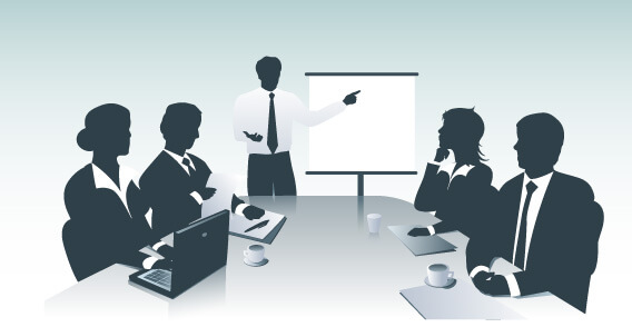illustration of a business man standing in front of a table of associates, giving a presentation