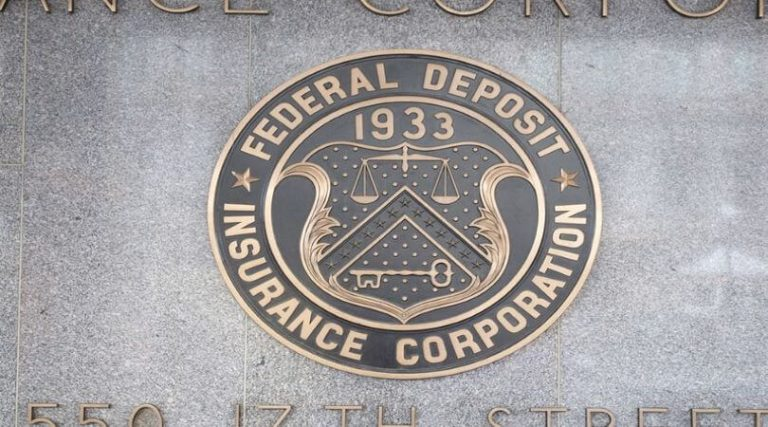 Photo of the FDIC seal. FDIC insurance on deposit covers up to $250,000 per depositor per FDIC member institution.