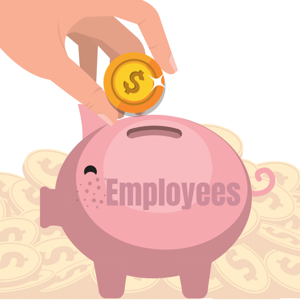 """A graphic of a hand putting a coin into a piggy bank that says """"employees"""" on it - symbolizing investing in your employees."""