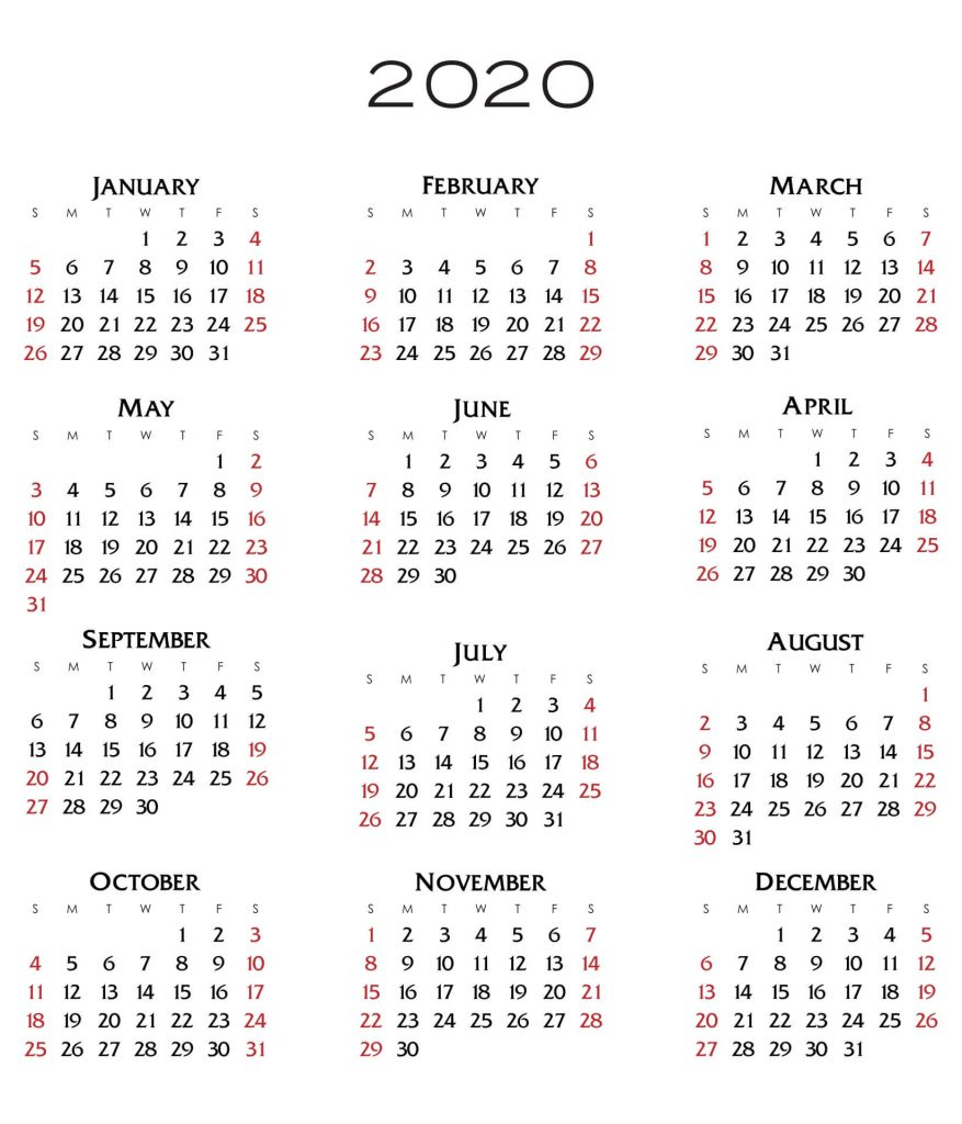 Image of a 2020 annual calendar, since clients can expect to see new resources weekly throughout the year.