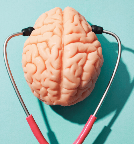 One of the newest HR trends is the focus on mental health - this image shows a stethoscope over a brain.