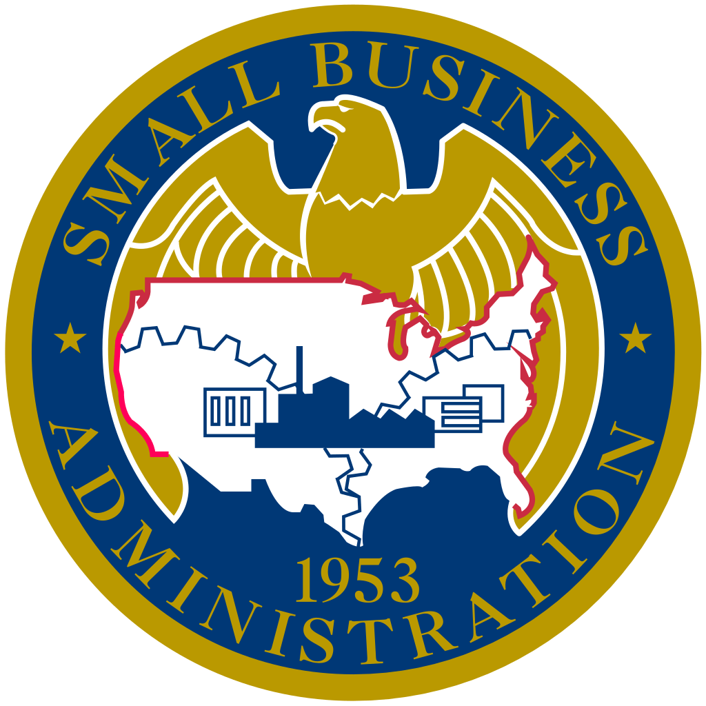 The small business administration seal, with the est. year of 1953. The types of business financing include the small business administration loan.