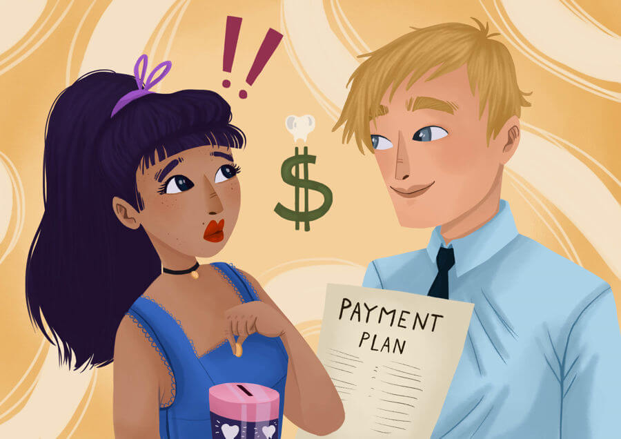 """An illustration of a woman looking alarmed putting a coin into a piggy bank.  A man across from her is holding a document that says """"payment plan"""""""